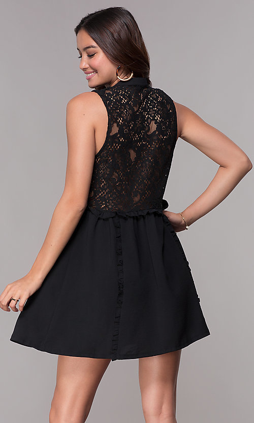 285ecab21 Image of sleeveless casual short LBD with lace back. Style: STO-JD1040 Back