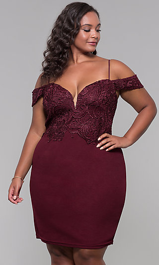 Short Lace-Bodice Off-the-Shoulder Plus Party Dress
