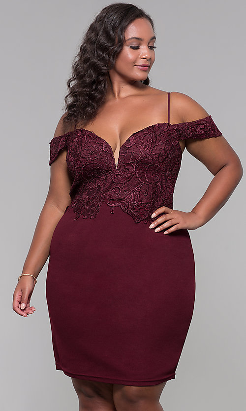 Image of short lace-bodice off-the-shoulder plus party dress. Style: SOI-PS40031 Detail Image 3