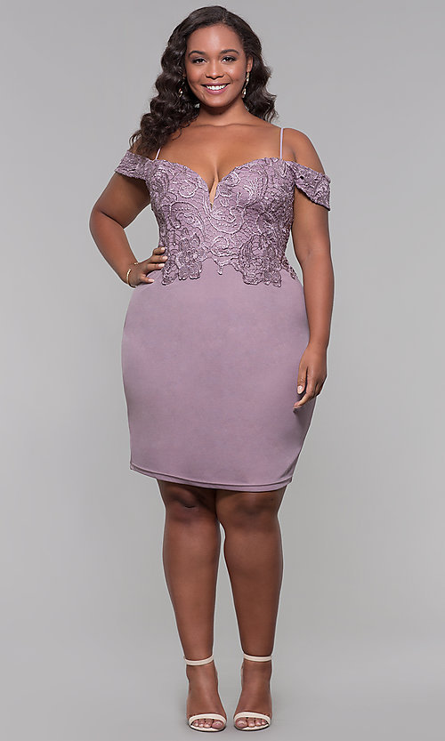 Image of short lace-bodice off-the-shoulder plus party dress. Style: SOI-PS40031 Detail Image 2