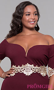 Image of off-the-shoulder 3/4-sleeve plus-size party dress. Style: SOI-PS40053 Detail Image 1