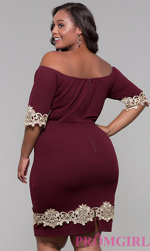 Image of off-the-shoulder 3/4-sleeve plus-size party dress. Style: SOI-PS40053 Back Image