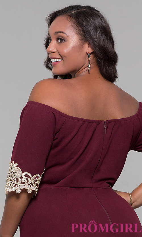 Image of off-the-shoulder 3/4-sleeve plus-size party dress. Style: SOI-PS40053 Detail Image 2