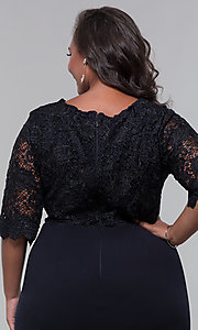 Image of short lace-bodice sleeved plus wedding-guest dress. Style: SOI-PS40042 Detail Image 2