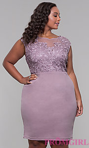 Image of lace-bodice wedding-guest short plus party dress. Style: SOI-PS40025 Detail Image 3