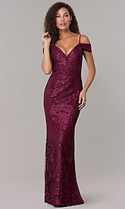 Image of off-shoulder long formal MOB dress with straps. Style: SOI-M17950 Front Image