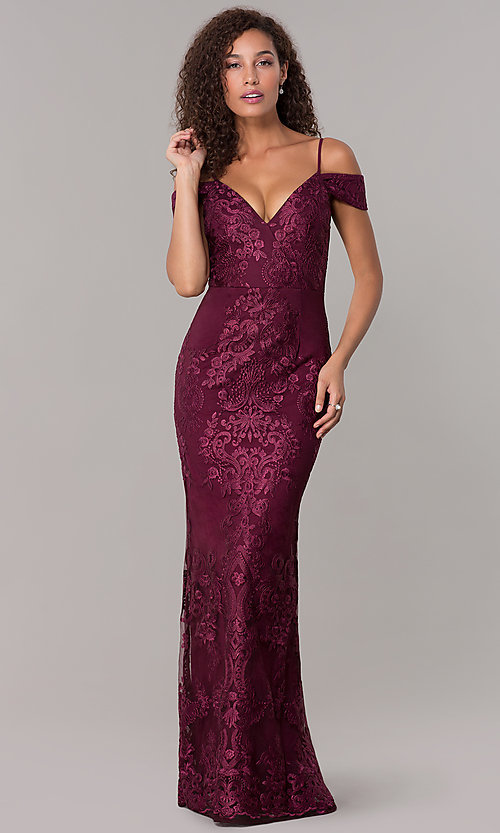 e52c40d14635 Image of off-shoulder long formal MOB dress with straps. Style  SOI-