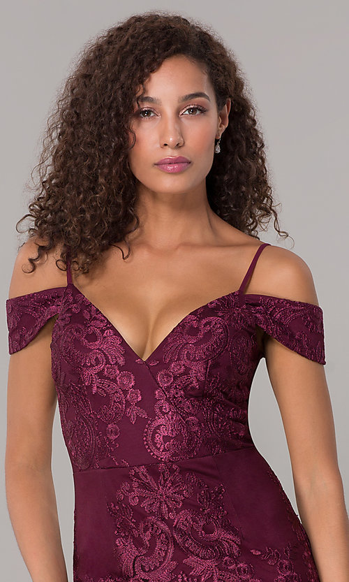 Image of off-shoulder long formal MOB dress with straps. Style: SOI-M17950 Detail Image 1
