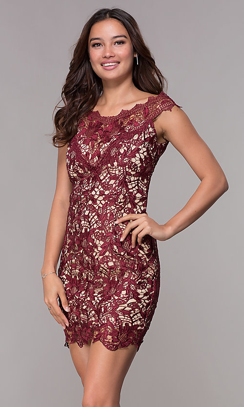58ae74f1be1 Image of wedding guest short lace party dress in wine red. Style  SOI-
