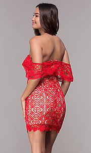 Image of off-shoulder semi-formal short red lace party dress Style: SOI-D16557 Back Image