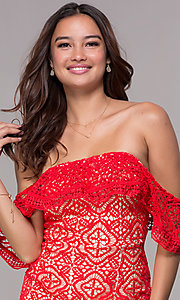 Image of off-shoulder semi-formal short red lace party dress Style: SOI-D16557 Detail Image 1