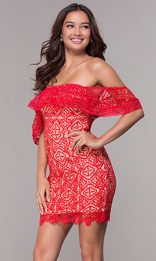 Red Lace Off The Shoulder Short Party Dress Promgirl