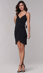 Image of black faux-wrap party dress with straps. Style: BLU-BD9034 Detail Image 3