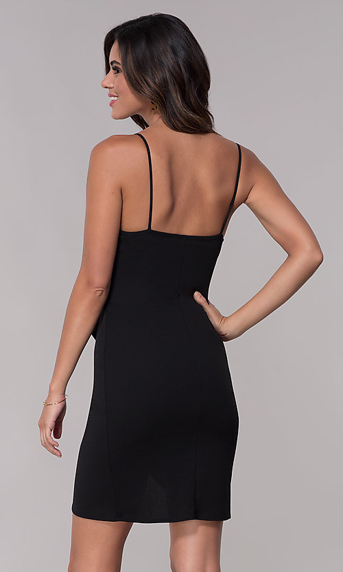 Image of black faux-wrap party dress with straps. Style: BLU-BD9034 Back Image