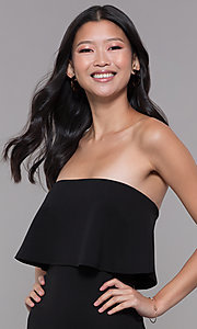 Image of black strapless popover knee-length party jumpsuit. Style: BLU-BR1288 Detail Image 1