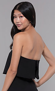 Image of black strapless popover knee-length party jumpsuit. Style: BLU-BR1288 Detail Image 2