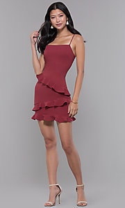 Image of short ruffled-skirt marsala red party dress. Style: BLU-BD9282 Detail Image 3