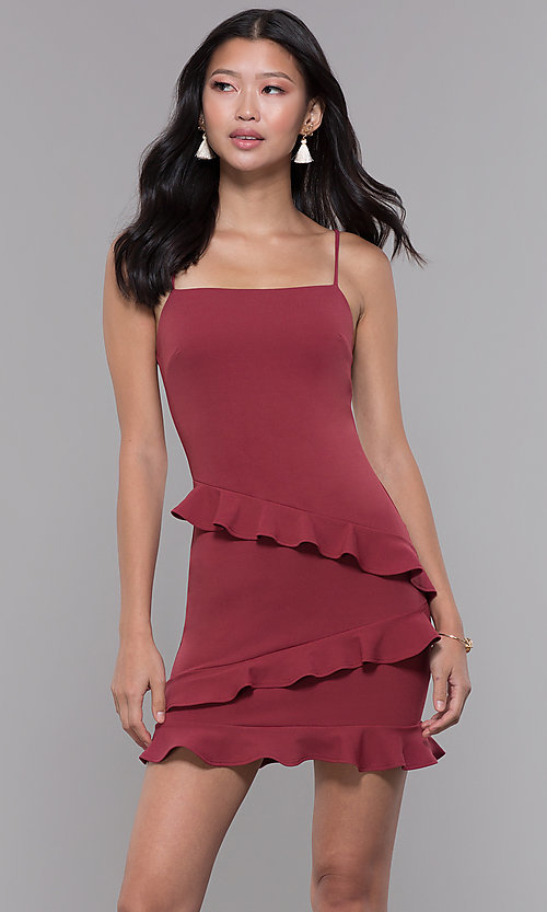 Image of short ruffled-skirt marsala red party dress. Style: BLU-BD9282 Front Image
