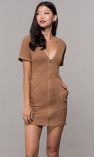 Short Casual Corduroy Short Sleeve Dress
