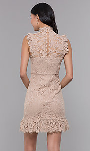 Image of high-neck short lace wedding-guest dress. Style: STO-SD1047A Back Image