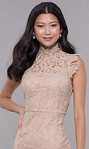 Image of high-neck short lace wedding-guest dress. Style: STO-SD1047A Detail Image 1