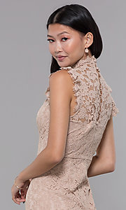 Image of high-neck short lace wedding-guest dress. Style: STO-SD1047A Detail Image 2
