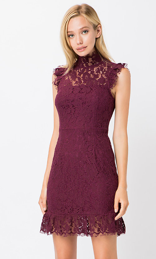 Image of high-neck short lace wedding-guest dress. Style: STO-SD1047A Detail Image 3