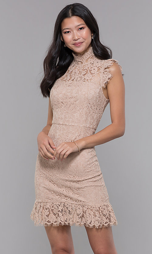 Image of high-neck short lace wedding-guest dress. Style: STO-SD1047A Front Image
