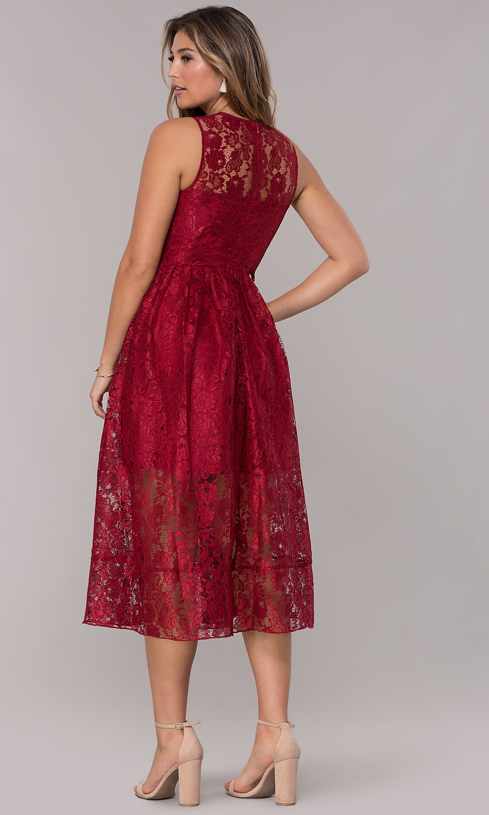Midi Length Red Lace Wedding Guest Dress Promgirl