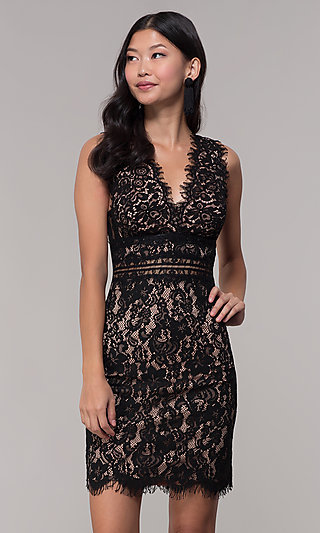 Short V-Neck Black Lace Wedding-Guest Dress
