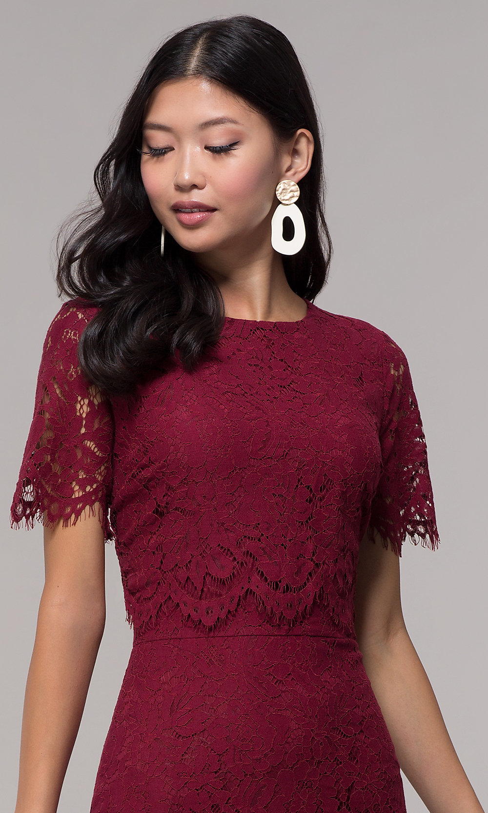 Midi Burgundy Lace Holiday Popover Dress - PromGirl