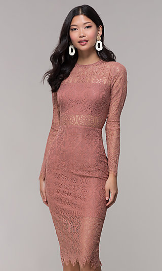 Mauve Midi Wedding Guest Dress with Long Sleeves