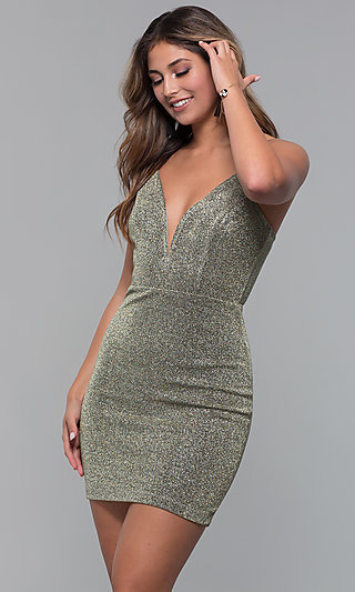 Short Glitter-Knit V-Neck Holiday Party Dress