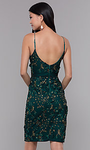 Image of short embroidered emerald green holiday party dress. Style: MT-9394 Back Image