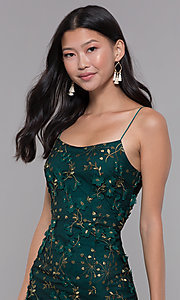 Image of short embroidered emerald green holiday party dress. Style: MT-9394 Detail Image 1
