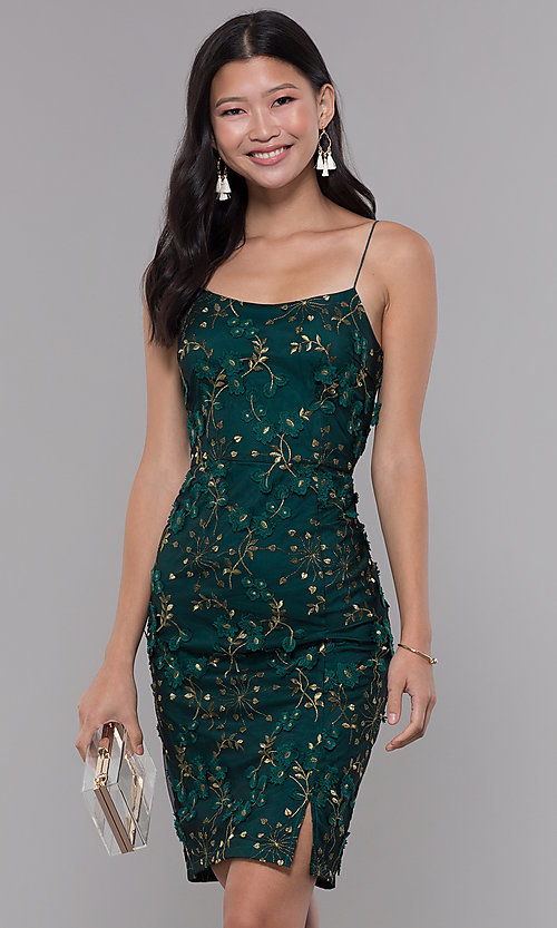 Image of short embroidered emerald green holiday party dress. Style: MT-9394 Front Image