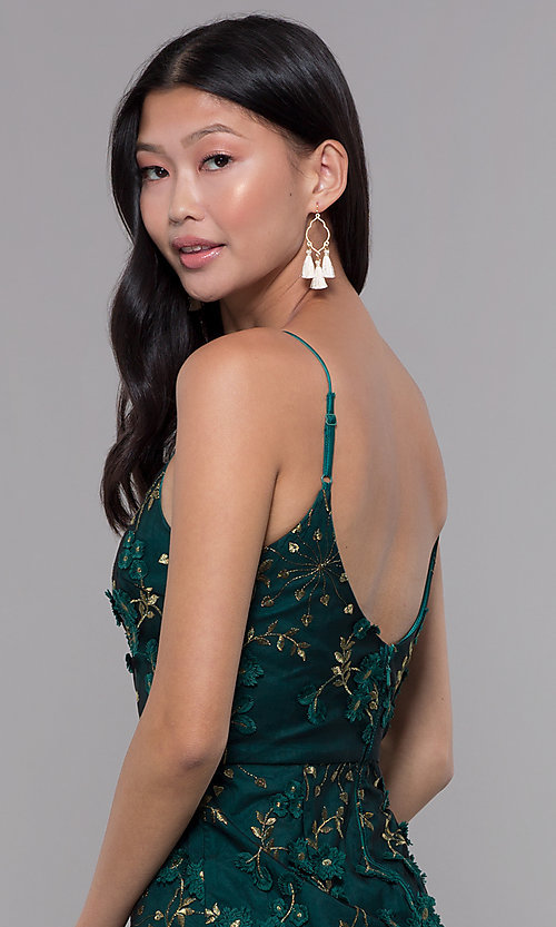 Image of short embroidered emerald green holiday party dress. Style: MT-9394 Detail Image 2