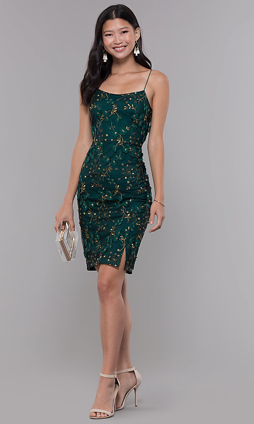 Image of short embroidered emerald green holiday party dress. Style: MT-9394 Detail Image 3