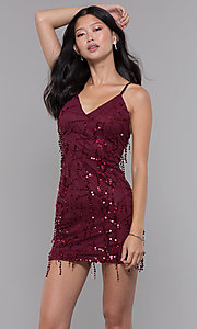 Image of short sequin v-neck burgundy holiday party dress. Style: MT-8906 Front Image