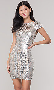 Image of short sequin scoop-back holiday party dress. Style: MT-9514 Front Image