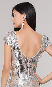 Image of short sequin scoop-back holiday party dress. Style: MT-9514 Detail Image 2