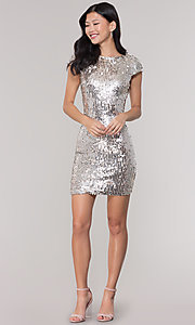 Image of short sequin scoop-back holiday party dress. Style: MT-9514 Detail Image 3
