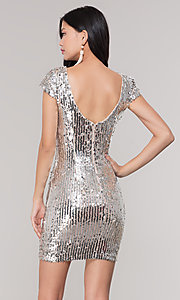 Image of short sequin scoop-back holiday party dress. Style: MT-9514 Back Image