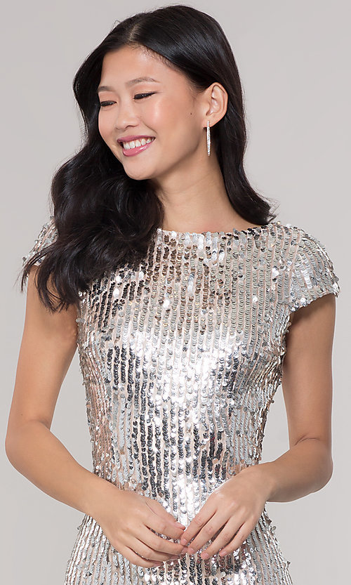 Image of short sequin scoop-back holiday party dress. Style: MT-9514 Detail Image 1