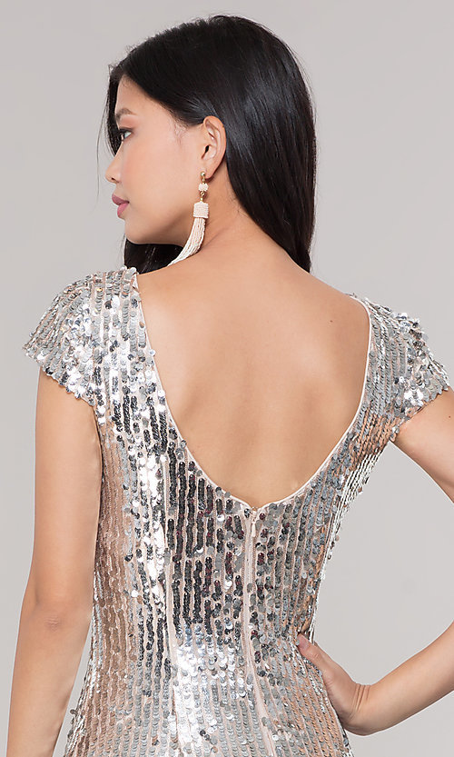 798aed06f68 Image of short sequin scoop-back holiday party dress. Style  MT-9514