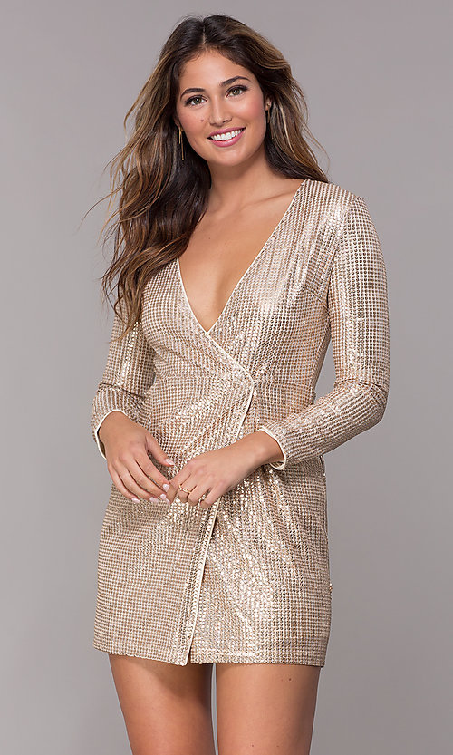 106ad47d81e1 Image of sequin short v-neck sleeved gold holiday wrap dress. Style  MT