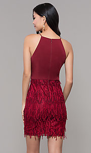 Image of short sleeveless burgundy red holiday dress. Style: MT-9407 Back Image
