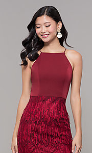 Image of short sleeveless burgundy red holiday dress. Style: MT-9407 Detail Image 1
