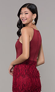 Image of short sleeveless burgundy red holiday dress. Style: MT-9407 Detail Image 2