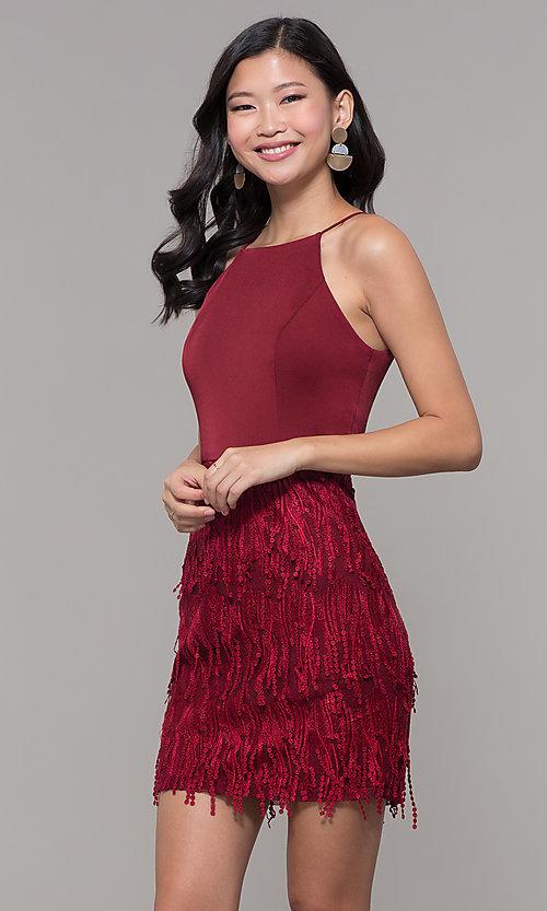 Image of short sleeveless burgundy red holiday dress. Style: MT-9407 Front Image